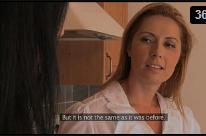 Patroa lesbica transando com a empregada novinha na cozinha